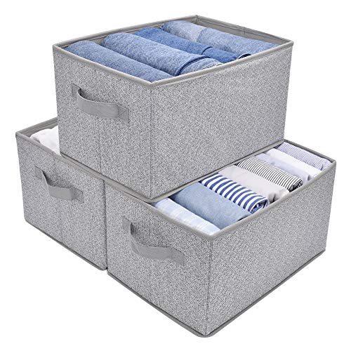 GRANNY SAYS Storage Bin for Shelves Fabric Closet Organizer Shelf Cube Box with Handle Home Office Storage Baskets Large Gray 3-Pack