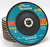 NOVOABRASIVE Discos De Láminas 180 x 22,2 mm 80-Grano Caja De 10 Pzas. Ideal Para Aceros...