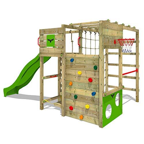 FATMOOSE Klettergerüst Spielturm FitFrame mit apfelgrüner Rutsche, Gartenspielgerät mit Leiter & Spiel-Zubehör