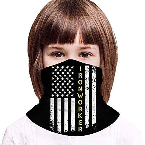 Ironworker american flag Boys Girls Balaclava Face Bandana Neck Gaiter Teenager Bandana for Outdoor