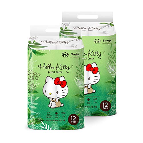 Hello Kitty Forest Green Toilet Paper,100% Wood Pulp, 3 Ply 24 Rolls, (2 Packs of 12 Rolls)