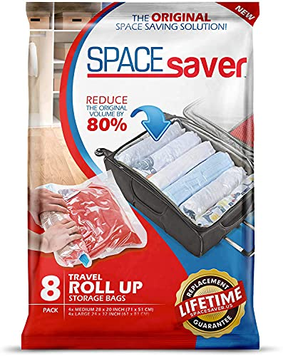 storage travels Spacesaver Premium Travel Roll Up Compression Storage Bags for Suitcases -No Pump or Vacuum Needed - Perfect for traveling! (Travel 8 Pack)