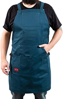 Fit, Function and Look-Solid blue cotton Apron for BBQ, Grill, Chef, and Hobby, 5 pockets-1 hoodie style, cross-back design, Quick release buckle, 2 towel/tool loops. Great Gift!
