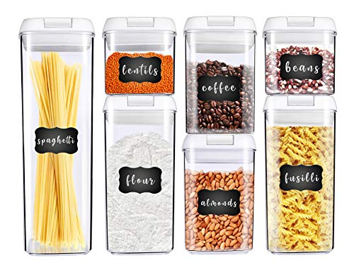 George Olivier Stackable Food Storage Containers with New Unbreakable Airtight Lids, Set of 7 + 8 Chalkboard Labels & Marker - Non-BPA & Food Grade Plastic - Spaghetti & Cereal Dispenser
