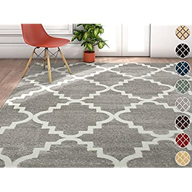 Harbor Trellis Grey Quatrefoil Geometric Modern Casual Area Rug 5x7 ( 5'3  x 7'3  ) Easy to Clean Stain Fade Resistant Shed Free Contemporary Traditional Moroccan Lattice Soft Living Dining Room Rug