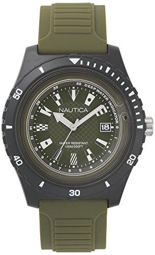 Nautica Herren Analog Quarz Uhr mit Silikon Armband NAPIBZ009