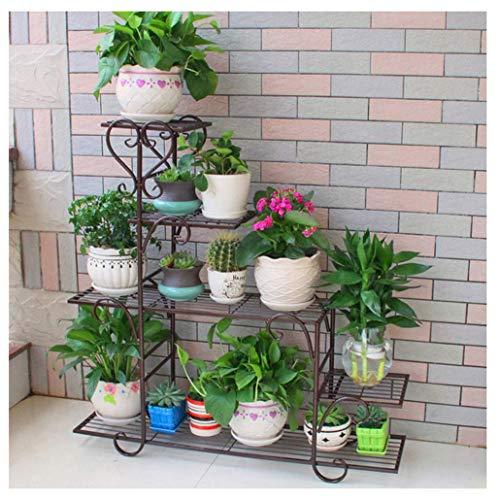 TCWDX Soporte de Metal para Plantas, Soporte para Hierbas de Flores, Soporte para Plantas de Flores, Soporte para Escalera de Bronce, Estante para múltiples Plantas jadeando, Bonsai, Estante de ex