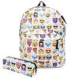 KooJoee Canvas Unisex Emoji School/Hiking/Travel/Camping/Laptop Backpack/Book Bags/Daypacks for Kids/Girls/Boys/Teenagers/Women(Free Pencil Bag) (White)