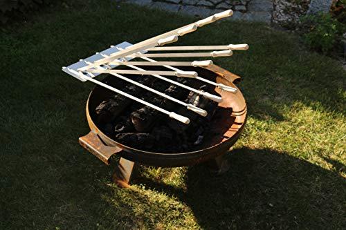 Kirschner Metallbau Spießhalter Steckerlfisch für FEUERSCHALE Grillaufsatz Fisch Halter Fischgrill V2A Holzkohlegrill (Set 2 Montage an Feuerschalen)