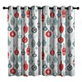 Joyful Christmas Pattern Room - Cortina de aislamiento con ojales para sala de estar, color azul y rojo, 72 x 72 pulgadas