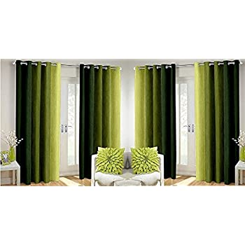 Generic SWISSTIC Polyester Texture Long Crush Solid Window Curtains (Green, 5ft) - Set of 4