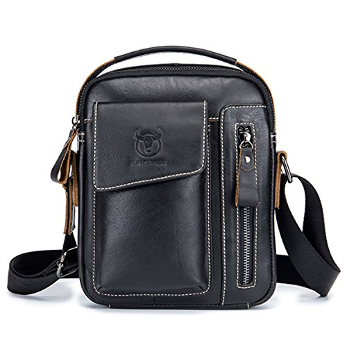 Men's Small Shoulder Bag, E Ekphero Genuine Leather Bag, Retro lightweight Cross Body Everyday Satchel Bag for Business Casual Sport Hiking Travel black middle