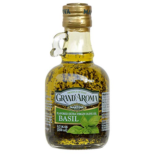 Mantova Grand'Aroma Basil Flavored Extra Virgin Olive Oil, made in Italy, cold-pressed, 100% natural, heart-healthy cooking oil perfect for salad dressing, pasta, garlic bread, meats, or pan frying, 8.5 oz (Pack of 2)