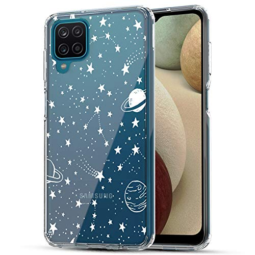 Galaxy A12 Case, RANZ Anti-Scratch Shockproof Series Clear Hard PC+ TPU Bumper Protective Cover Case for Samsung Galaxy A12 - Universe