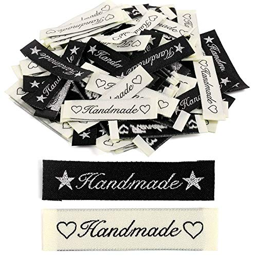 200 unidades de etiquetas textiles Cyleibe etiquetas de tela decoración DIY ropa etiquetas rectangulares costura etiquetas tejidas hechas a mano con amor etiquetas de tela etiquetas