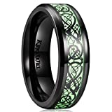 King Will Dragon 7mm Black Celtic Dragon Luminou Glow Mens Titanium Wedding Ring Band 11
