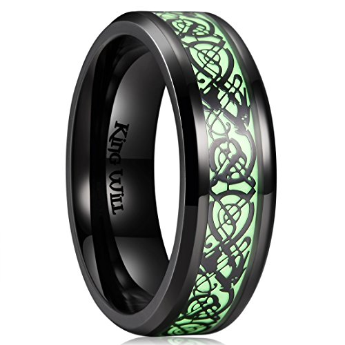 King Will DRAGON 7mm Black Celtic Dragon Luminou Glow Mens Titanium Wedding Ring Band 10