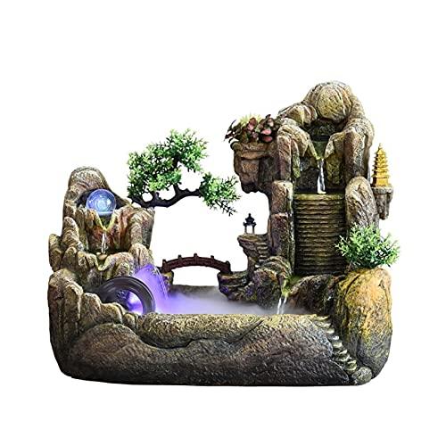Fuente de agua de escritorio Decoración de paisaje de la fuente de agua de la fuente de agua de la fuente de agua de la frescura de la cubierta de roceadora interior Bonsai Decoración de la cascada de