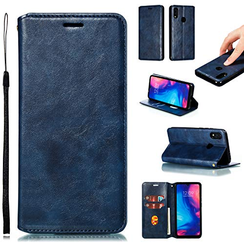 LODROC Xiaomi Redmi Note 7/Note 7 Pro Hülle, TPU Lederhülle Magnetische Schutzhülle [Kartenfach] [Standfunktion], Stoßfeste Tasche Kompatibel für Xiaomi Redmi Note 7 - LOYKB0200474 Blau