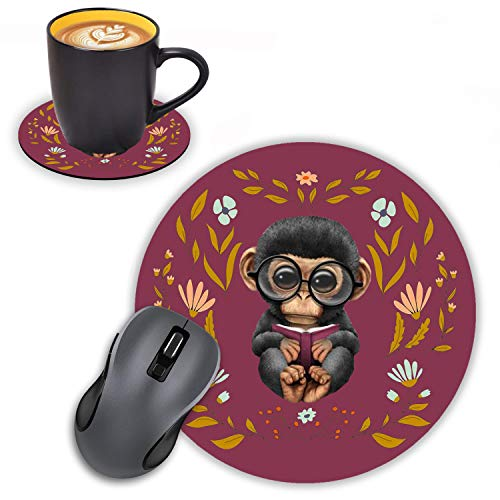 Log Zog Round Mouse Pad with Coasters Set, Floral Background Cute Monkey Design Mouse Pad Non-Slip Rubber Mousepad Office Accessories Desk Decor Mouse Pads for Computers Laptop