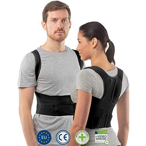 aHeal Corrector de Postura de Espalda para Hombre y Mujer | Soporte de Espalda y Columna Lumbar Superior para Corrección de Postura | Alivio del Dolor y Rehabilitación de Lesiones | Talla 4 Negro