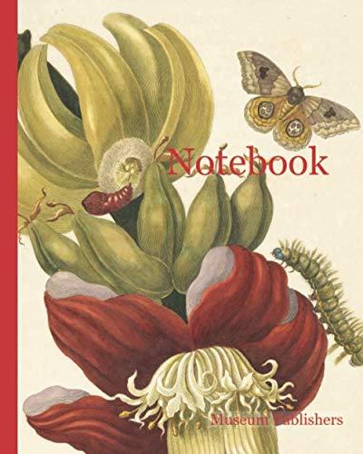 Notebook: Banana tree flower (Musa paradisiaca) with io moth (Automeris liberia), Maria Sybilla Meriaen