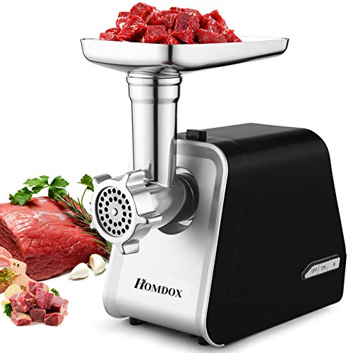 Homdox Electric Meat Grinder,The Mincer with 3 Grinders and Sausage Filling Tubes for Home Use, Stainless Steel Sausage Maker/Black / 2000W (2000W/black)