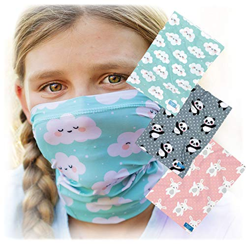 Cute Kids Face Mask Bandannas - Extra-Small for Toddlers - 6yrs - 3-Pack Matching Bunny Panda Cloud Prints - Stay Up Stretchy Band - Boys & Girls Headband - Warm Winter Neck Gaiter