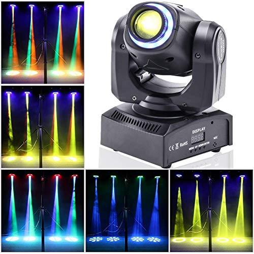 UKing Moving Head LED 50W DJ Party Lichteffekt DMX512 Disco Bühnenlicht 8 Muster 8 Farben 10/12 Kanäle Gobo Strahler mit Magischer Beleuchtungskreis für Bar Club Show (schwarz)