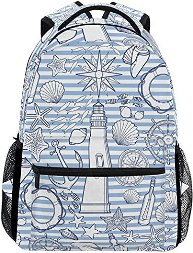 Mochila escolar escolar escolar Mochila de viaje Bookbag gráfico al aire libre Patrón náutico