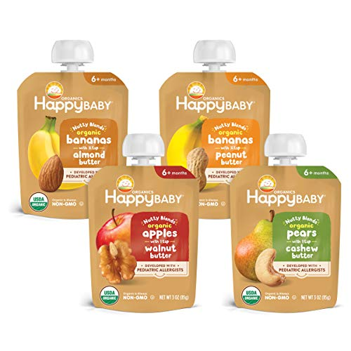 Happy Baby Organics Nutty Blends Organic Variety Pack (Pack of 8) Apples/Walnut Butter, Bananas/Almond Butter, Bananas/Peanut Butter, Pears/Cashew Butter