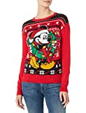 Disney Women's Ugly Christmas Sweater, Mickey&Wreath/Red, Large