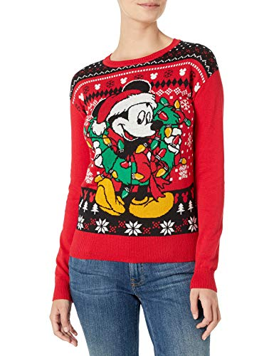 Disney Women's Ugly Christmas Sweater, Mickey&Wreath/Red, Medium