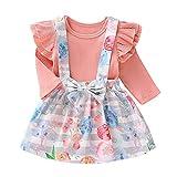 URMAGIC Baby Mädchen Rock Sets Infant Girl Rüschenärmel Strampler Tops + Blumenriemen Röcke Sommer Baumwolle Kleidung Neugeborenes Baby 3 Stück Kleidungsset