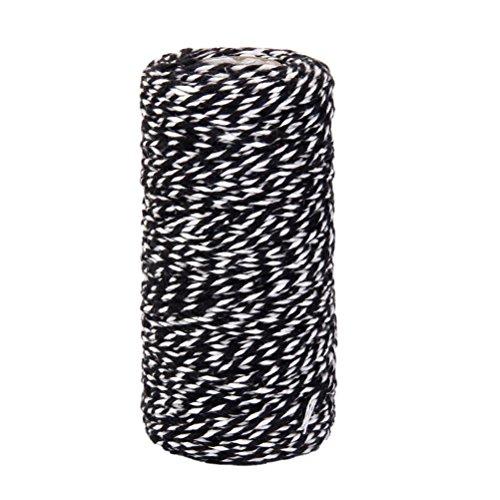 rosenice Kordel Baumwolle Kordel verwirbeltes Spule Baumwolle Schnur für Flasche aus Glas Gift Box Decor Craft 100m (schwarz weiß)