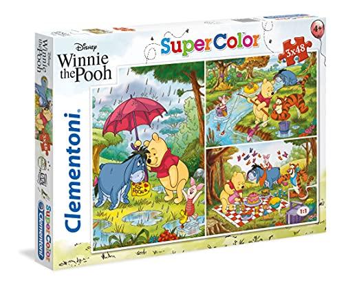 Clementoni Winnie The Pooh & Friends Clementoni-25232-Supercolor Puzzle Pooh-3x48 pezzi-Disney, Multicolore, 25232