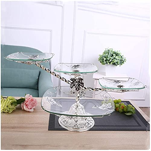 leoye Fruit Bowls Fruit Plate Living Room Glass Fruit Plate Retro Four-Layer Fruit Tray Cake Plate Four Cooyele (Color : Silver)