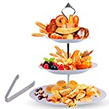 3 Tier Serving Tray Stand – Round Cupcake Dessert Party Platter with BONUS Serving Metal Tongs – Three...