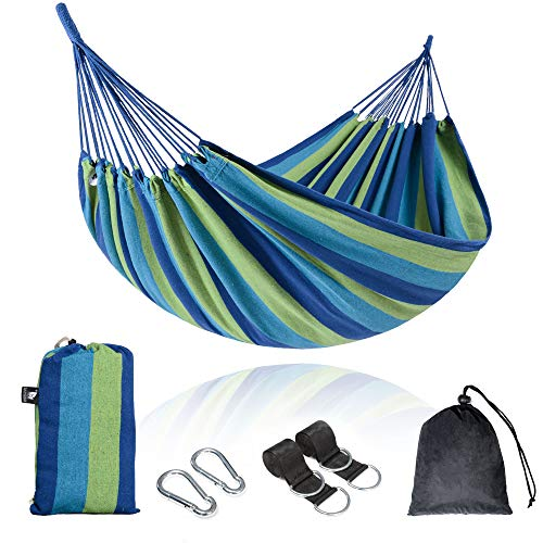 SUNCREAT Brazilian Hammock Canvas Hammock Portable, Blue Hammock with Carry Bag for Backyard, Porch, Outdoor and Indoor Use, Blue Stripe