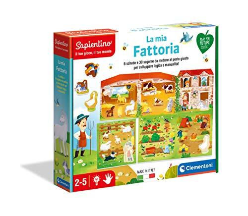 Clementoni Sapientino La mia Fattoria Gioco educativo 2 Anni (Versione in Italiano), Cartone 100% Riciclato, Play for Future Made in Italy, Multicolore, 16312