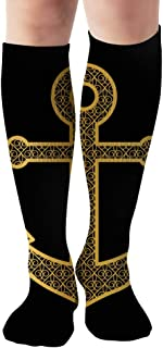 Decorative Golden Anchor On Black Paper Objects Men and Women Compression Knee Socks High Fitness Novelty Stockings 50Cm Stylish Design