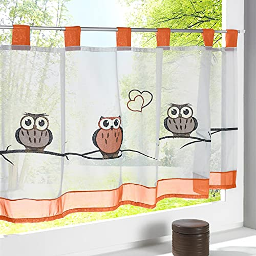 LCXX Semi Sheer Kitchen Valances for Windows Owl Pattern Tulle Voile Curtain Valance for Cabinet Coffee Window Rod Pocket Tangerine Sheer Voile Curtain Panel for Room Divider 1 Panel W36 X L18 Inch