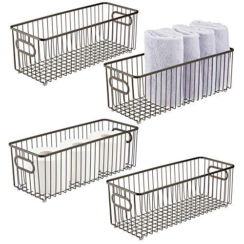 mDesign Juego de 4 cestas de metal con asas integradas – Cesto de alambre profundo con atractivo diseño de rejilla – Organizador de cosméticos para el baño – color bronce