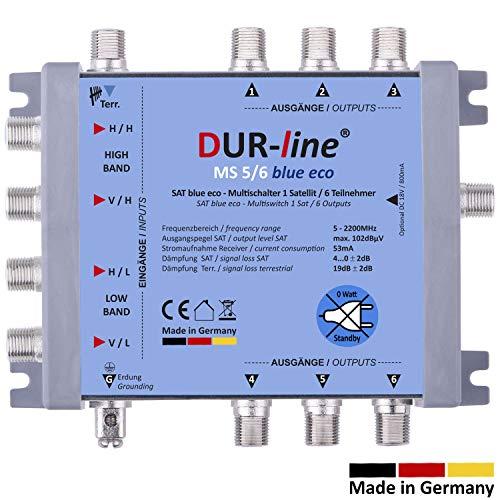 DUR-line MS 5/6 Blue eco Stromspar Multischalter - für 6 SAT Teilnehmer/TV - kein Netzteil notwendig - 0 Watt Standby Multiswitch [Digital, HDTV, FullHD, 4K, UHD]