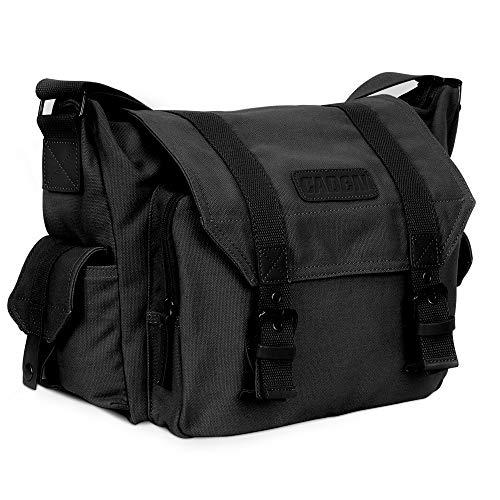 CADeN Borsa per fotocamera reflex, borsa per fotocamera a tracolla per fotocamera, con materiale impermeabile e imbottitura staccabile, compatibile con fotocamere reflex Canon Nikon Sony(nero)
