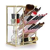 Organizador de escritorio, estilo vintage con 7 compartimentos para brochas de maquillaje, pinceles, color dorado, de Sumnacon.