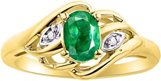 Diamond & Emerald Ring Set In Yellow Gold Plated Silver .925