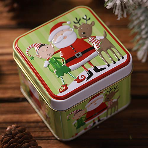 Dasongff Kerstmis snoep ronde opbergdoos kerstboomversiering kerstcadeaubox voor snoepjes chocolade 1 Pc A