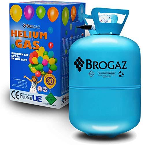 BROGAZ Helium Flasche Ballongas Folienballons Luftballons Gas Party ca. 30 Ballons