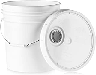 5 Gallon Food Grade Plastic Bucket - White Storage Container with Pour Spout Lid and Metal Handle - 6 Pack